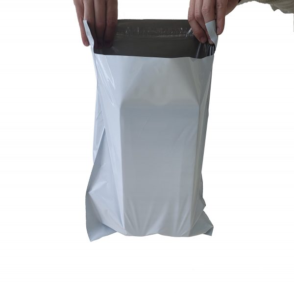 Tough heavily loaded grey poly mailer
